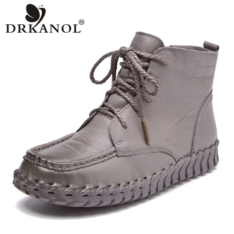 DRKANOL New Design Genuine Leather Ankle Boots For Women Vintage Casual Shoes Handmade Cowhide Soft Flat Short Boots Women H559 casual metal and flat heel design short boots for women