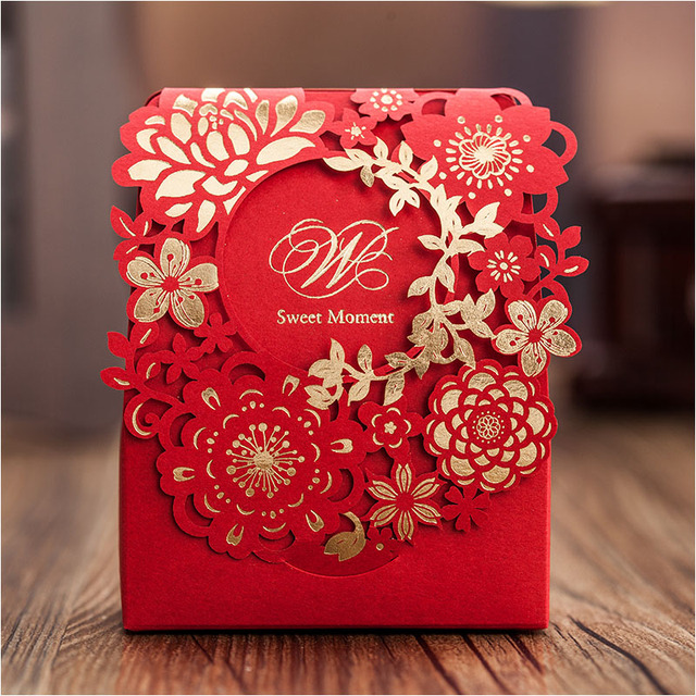 Red Sweet Wedding Candy Box 50pcs Gold Paper Laser Cut Flower Chocolate Gift Boxes As