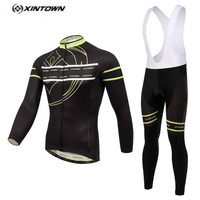 XINTOWN Cycling Suits Mens Bike Jersey BIB Pants Sets Bicycle Ropa Ciclismo Long Sleeve Black Yellow
