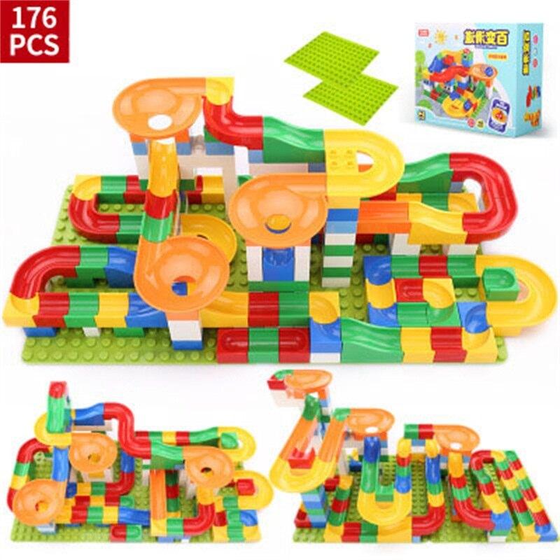 248PCS Building Blocks Track Slide Big Size Educational Bricks Preschool Toys Compatible With Legoed Assembling Boys And Girl
