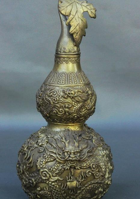 "9"" Chinese Brass JiXiang Zodiac Year Dragon Play Bead Statue Wine Pot Flagon"