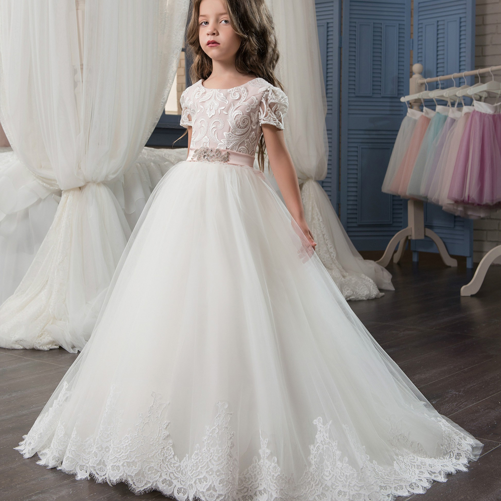 New Arrival Luxury Ball Gown Lace Appliques Short Sleeve with Beading Sash Little Girls Pageant Dresses For Wedding Custom Made 4pcs new for ball uff bes m18mg noc80b s04g