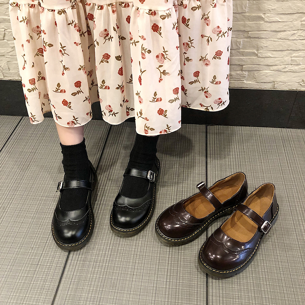 Retro Ins Student Shoes College Mori Girl Lolita Shoes PU Leather Mary Jane Flats Shoes Monk Straps