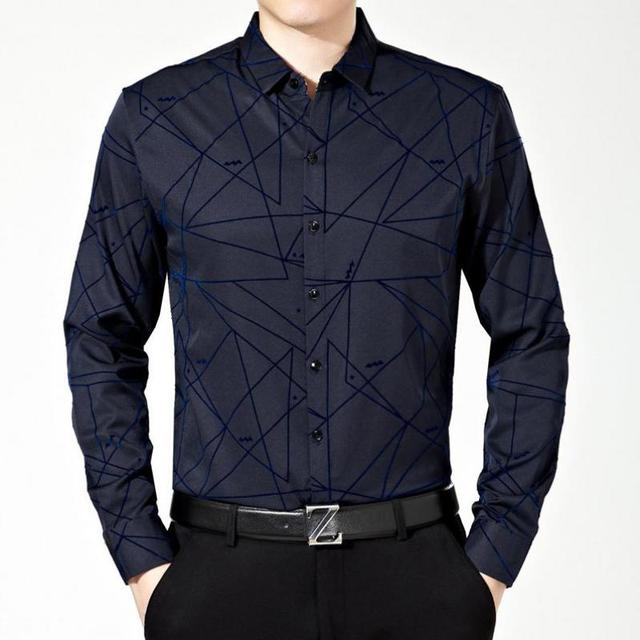 Camisa Masculina XXL Mens Camisa de Vestir de Los Hombres Delgados Camisa de Manga Larga Hombres Ropa de Marca Famosa Camisa Social Vetement Homme