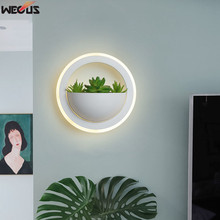 (WECUS) NEW Art plant wall light, simple modern bedside lamp creative personality aisle living room corridor lamp wall lamp(China)
