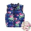 2017 Autumn Spring Children's Winter Jackets Kids Girls Vest Sweet Floral Down Cotton Warm Waistcoat Children Clothing 2 Color