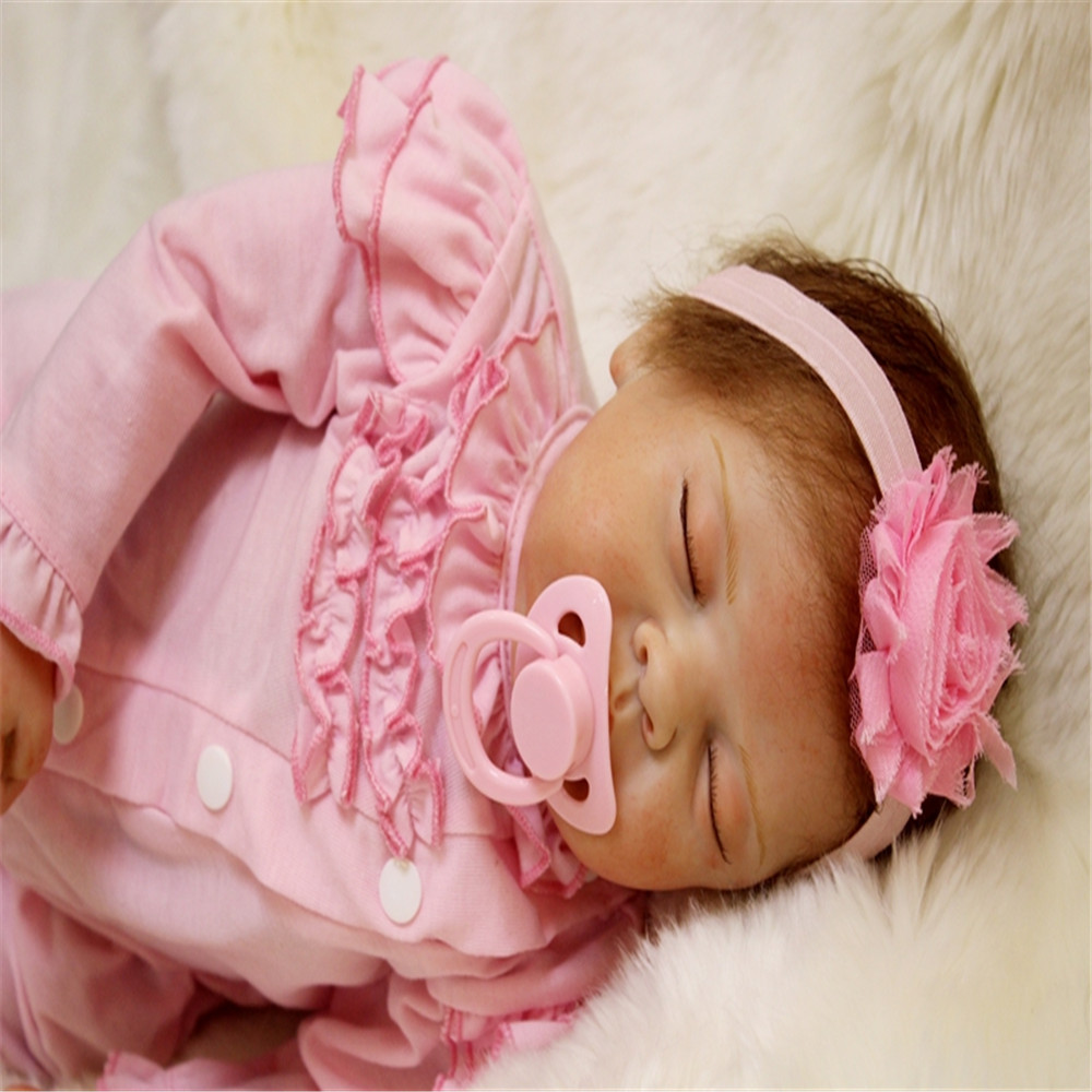22 inch 55 cm Silicone baby reborn dolls, Lovely pink conjoined clothes, sleeping dolls for holiday gifts 22 inch 55 cm Silicone baby reborn dolls, Lovely pink conjoined clothes, sleeping dolls for holiday gifts