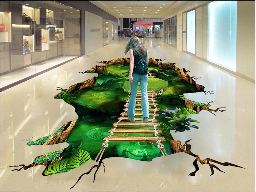 3 d pvc flooring custom photo mural waterproof floor Magic dream forest path room decoration painting wallpaper for walls 3d free shipping custom living room bathroom home decoration hd dream universe 3d floor thickened waterproof wallpaper floor roll