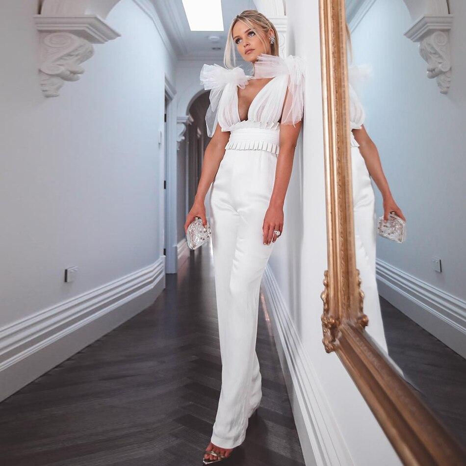 Couturière 2019 nouveau Bandage combinaisons Sexy femmes blanc noir barboteuses moulante sans manches été Club fête combinaison maille Clubwear