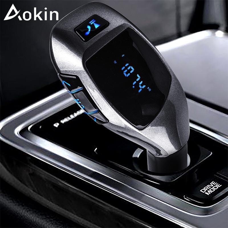 Aokin Новый USB Автомобильное Зарядное устройство Беспроводной Bluetooth автомобиля громкой музыки аудио MP3-плееры прикуривателя для iphone Samsung телеф...