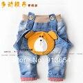 Novo 2014 primavera outono crianças roupas de bebê calças criança calça casual meninos calças Jeans jardineiras macacão de bebê bonito do urso dos desenhos animados
