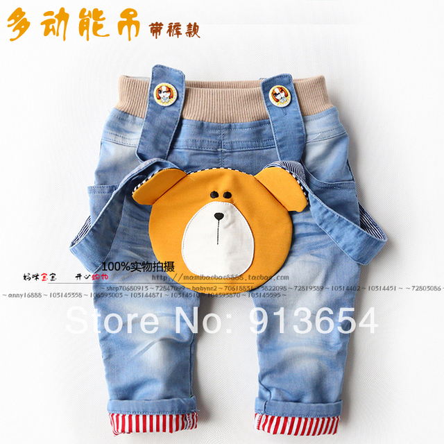 new 2014 spring autumn kids clothes baby pants child casual pants boys Denim bib pants baby cute bear cartoon overalls