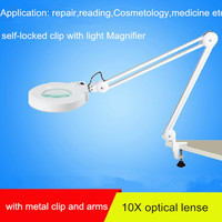 10X Clip on desk type magnifier with LED light white glass lense magnifier can be used for reading carving medical magnifier
