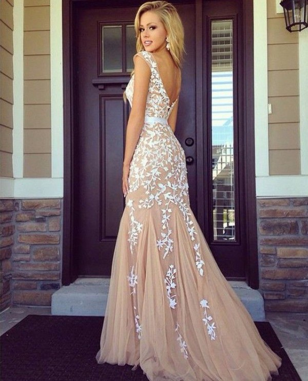 Backless Lace Appliques Tulle Champagne Prom Dresses abendkleid 2015 Mermaid Long Evening Formal Gowns Special Occasion  -  Weddings & Events Collection store
