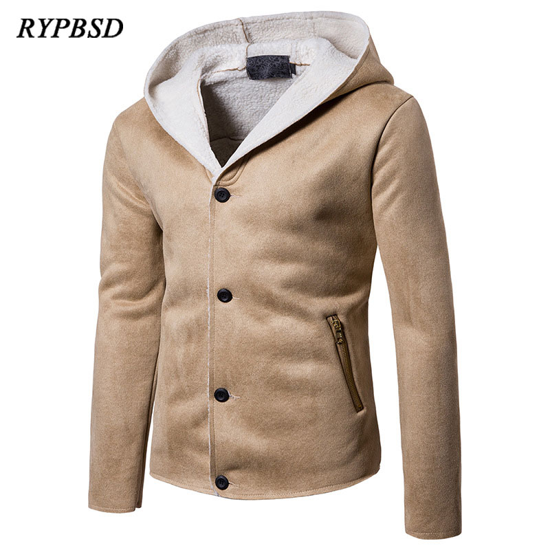 New Winter 2018 Vintage Hooded Lamb Leather Suede Jacket Men Lined Fleece Single-Breasted Slim Khaki Black Warm Short Outerwear