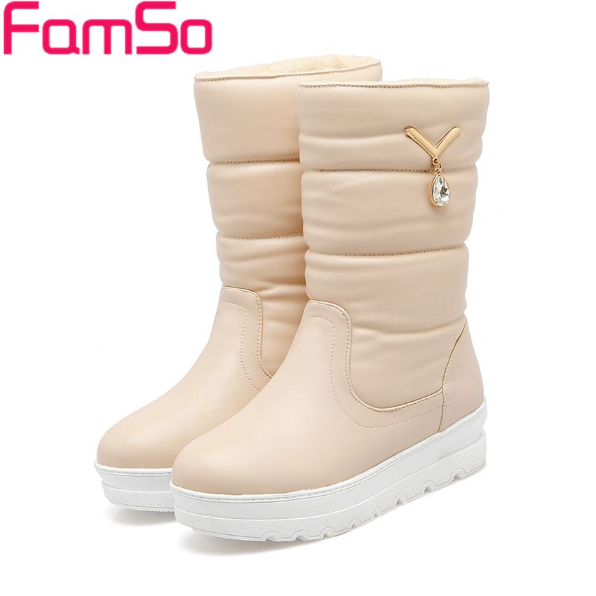 ФОТО Free shipping 2017 new Fashion Women Boots Black Beige white Rhinestone Motorcycle Boots Winter Waterproof Snow Boots ZWB4353