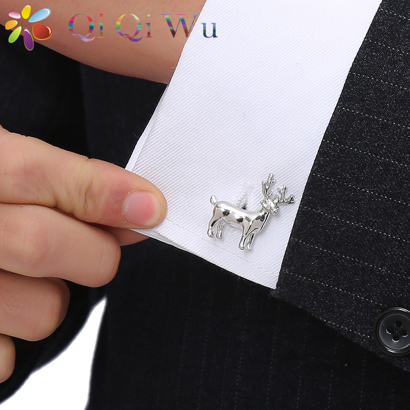 Qi Qi Wu Silver Deer Cufflinks For Men Copper Material Cuff Links Christmas Gift Present French Buttons Present Animal Jewelry in Tie Clips Cufflinks from Jewelry Accessories