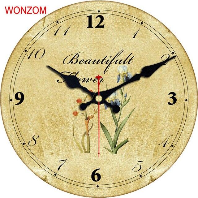 WONZOM Elegant Flower Design Large Wall Clock Silent Living Room ...
