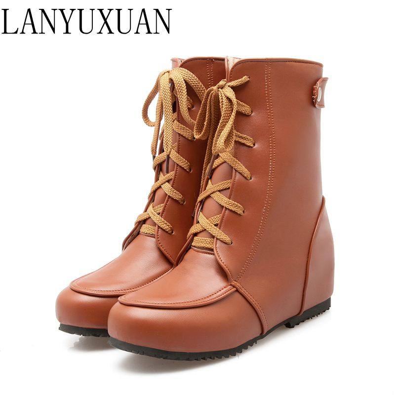 Botas Mujer Winter Boots Plus Big Size 34-52 New Round Toe Buckle Boots For Women Casual Heels Fashion Warm Winter Shoes 507 new winter women long style down cotton coat fashion hooded big fur collar casual costume plus size elegant outerwear okxgnz 818