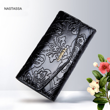 Female Elegant Wallet Genuine Leather Purse Floral Hasp Clutches Evening Bags bolsos mujer