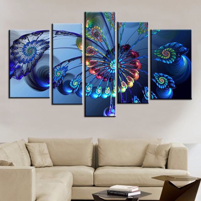 Superior Modern Oil Painting Canvas Print Landscape Abstract Art Blue Peacock Wall  Art Picture For Home Decoration