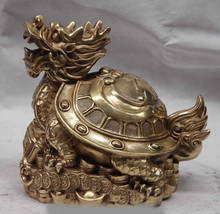 WBY 731 + + + + + Chine Cuivre En Laiton Richesse Argent Bénédiction Dragon tortue Tortue Cocu Statue(China)