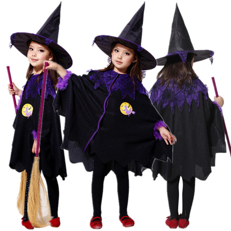 Free Shipping Carnival Masquerade Halloween Witch Costume for Girls Kids Fantasia Fancy Dress with Hat Children Cosplay Clothes