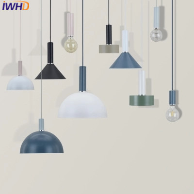 IWHD Iron Pendant Light Fixtures Modern Led Color Hanging Lamp Creative Beside Kitchen Dining Lamparas Home Lighting Luminaire iwhd 25 heads lampen iron modern pendant light fixtures glass ball led hanging lamp home lighting luminaire suspendu lustre