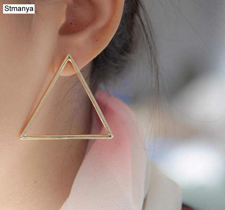 Best buy ) }}Triangle Earring - Hot Sale Fashion Europe Exaggerated Elegant Triangle Gold-Color Silver Triangular Geometric