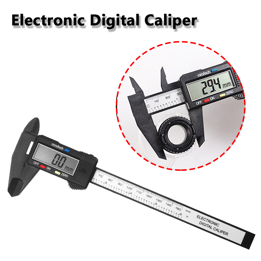 Vernier Caliper Gauge 150mm 6inch LCD Digital Electronic Carbon Fiber Micrometer Ruler Composite Tester