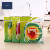 4Pcs Set 3 Color Round Nylon Hand Woven Clean Towel Dishcloth Rag Nonstick Oil Absorbent Cleaning