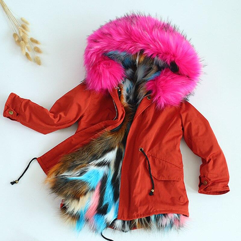JKP 2018 зима новый искусственный мех для мальчиков и девочек модные Утепленное пальто преодолеть детские пальто с мехом Мода Куртки пальто ...