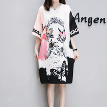 Dresses of the big sizes t shirt summer clothes for women tshirt dress plus size 4XL large loose casual robe Cartoon butterfly yiciya white t shirt dress with pockets women cotton loose plus size big tshirt dresses robe striped 2019 summer casual clothing