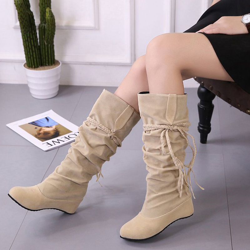 Women Boots 2018 New Mid Calf Boots Fashion women Shoes Winter Boot women Snow Boots Suede Ladies Shoes 5 colors Plus Size 35-43