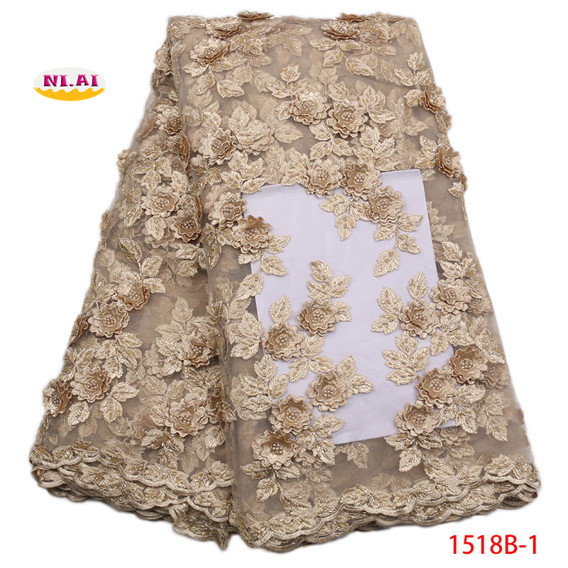 2018 High Quality Peach French Mesh Lace Gold African 3D Lace Fabric Sewing Accessories Nigerian Lace For Dedding DressNA1518B-12018 High Quality Peach French Mesh Lace Gold African 3D Lace Fabric Sewing Accessories Nigerian Lace For Dedding DressNA1518B-1