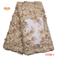 2018 High Quality Peach French Mesh Lace Gold African 3D Lace Fabric Sewing Accessories Nigerian Lace