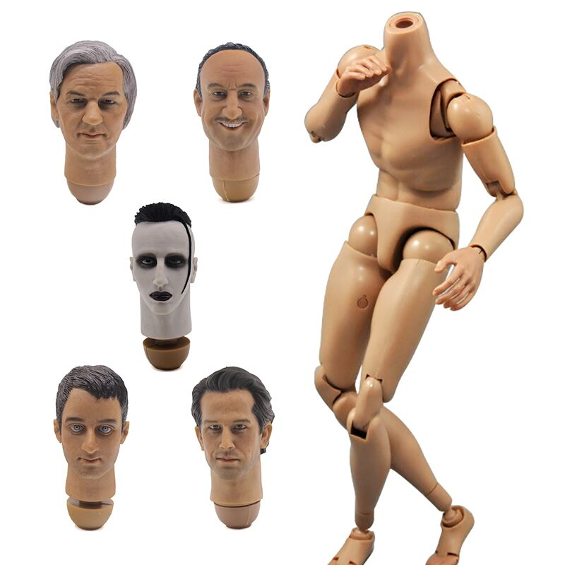 Dragon 1:6 Scale Nude Body Male Narrow Shoulder Muscle Man 12 Figure Neo-3 Human Figure Body F 1/6 head sculpt Doll Toys 1 6 scale figure doll head shape for 12 action figure doll accessories europe male star head carved not include body clothes