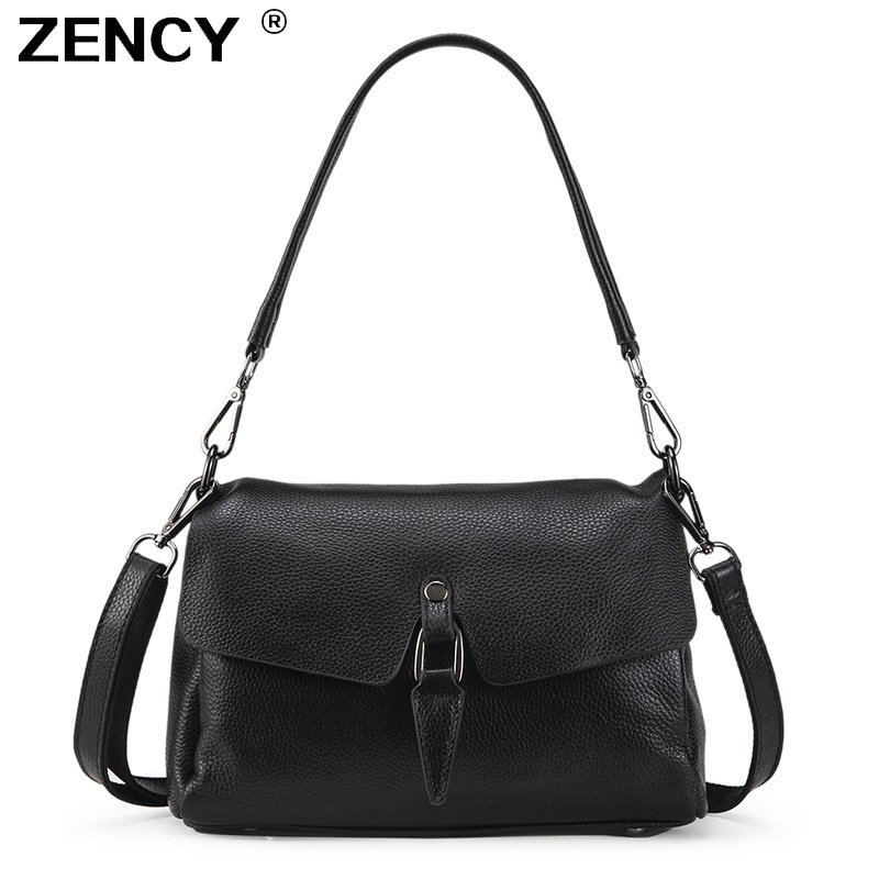 ZENCY 100 Real Genuine Cow Leather Women s Shoulder Long Handle Bags Female Small Handbag Ladies