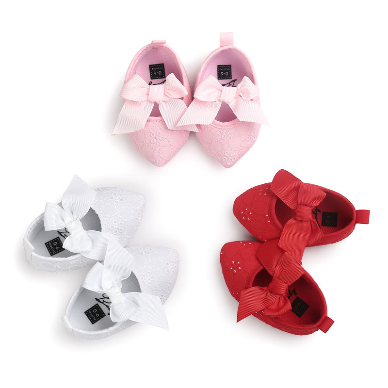 Cute Sweet Newborn Baby Princess Shoes bowknot First Walkers Soft Sole Winter Baby Girl Shoes