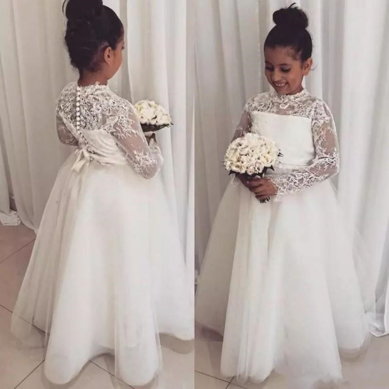High Neck Long Sleeves Cheap Tulle   Flower     Girl     Dress   for Wedding With Buttons Ribbon Back New First Communion   Dress   Custom Made