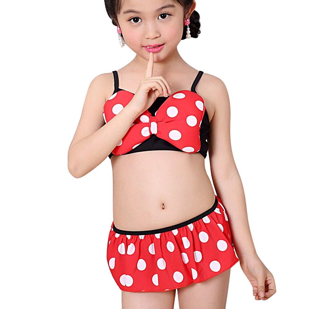 2017 New Summer Girl Bathing Bikini Baby Grils Summer Swimming Bikini Dot Printed Dress Suit Set Bathing Suit Beach Suit