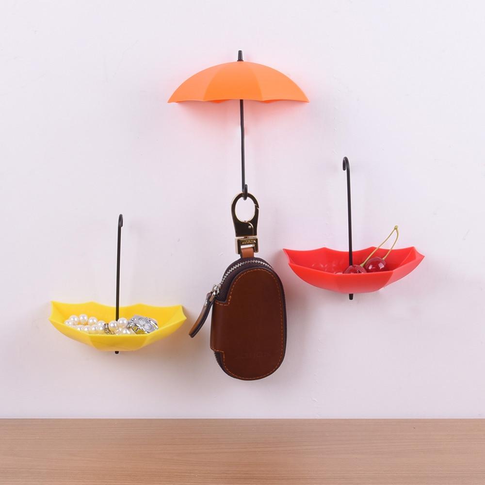 3Pcs Umbrella Wall Hook Key Hair Pin Holder Organizer Decorative Newest Umbrella Wall Hooks 2016 Freeshipping