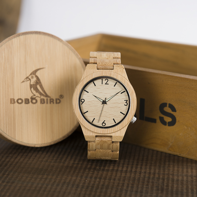 BOBO BIRD Mens Gifts Watch Men Gifts Japan Move' 2035 Bamboo Band Quartz Bamboo Wood Watches for Male relogio masculino C-D27