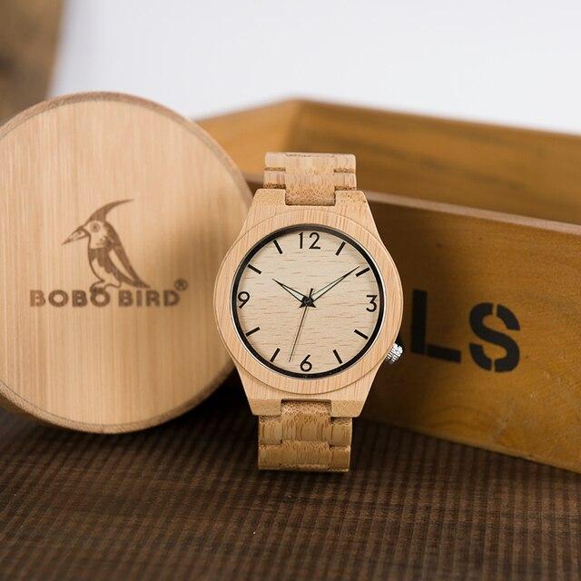 """BOBO PÁJARO Regalos Para Hombre Reloj de Los Hombres Regalos de Japón Movimiento """"2035 Cuarzo de la Venda de Relojes de Madera De Bambú de bambú para Hombre relogio masculino C-D27"""