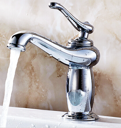 Free Shipping chrome copper bathroom faucet fashion water tap hot and cold faucet wash basin mixer sink faucet mixer tap copper bathroom shelf basket soap dish copper storage holder silver