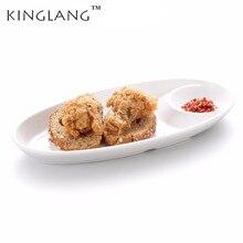 Japanese White Rectangle  Melamine Pasta Bread Dumplings Plate With Vinegar Saucer Household Dinner Tableware