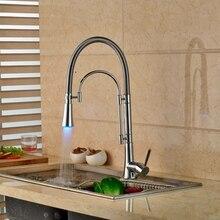 3 Цвет Изменение Хромированная Отделка Кухонный Кран Однорычажный Одно Отверстие Кран Смесителя Кран