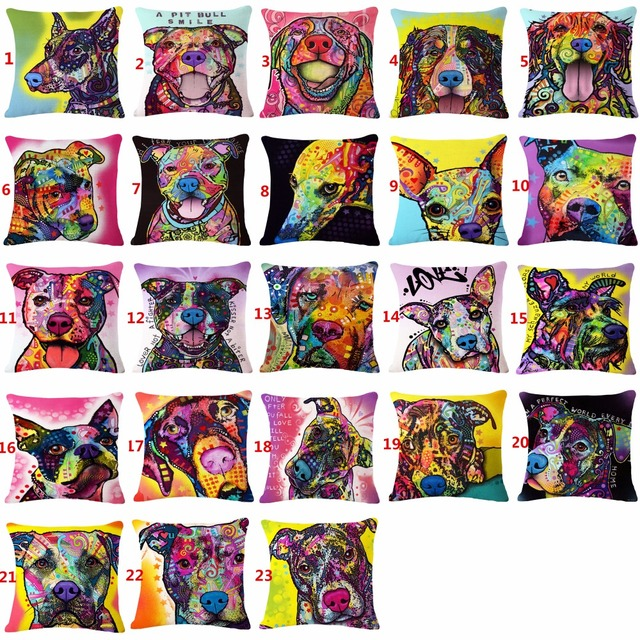 45x45 cm cuscini decorativi casi di animali dog pet acquerello cotone lino cusci