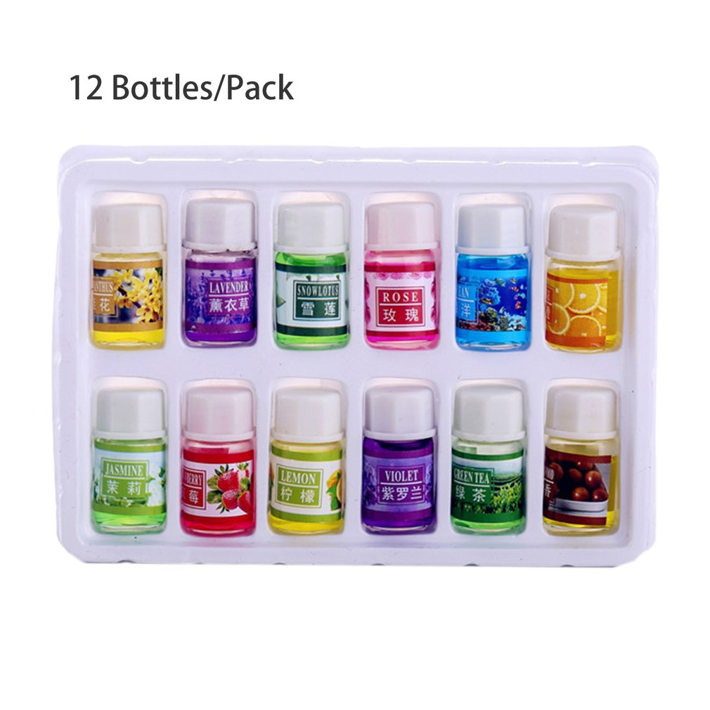 12 Bottles/Pack Natural Plants Fragrance 3ml Essential Oil For DIY Aromatherapy Humidifier Perfume Smell Purifying Air Oil