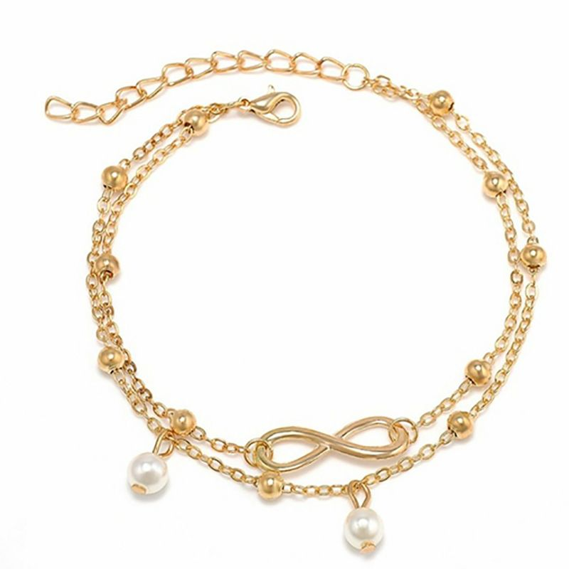 Bohemian Elegant Women's Imitation Pearl Anklet Foot Bracelet Barefoot Sandals Chain Strap Beach Accessories Jewelry For Women 4
